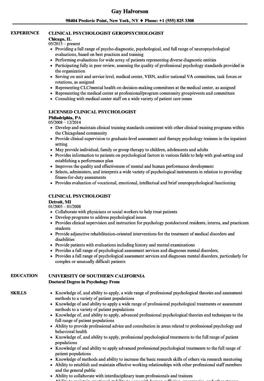Clinical psychologist resume samples velvet jobs for