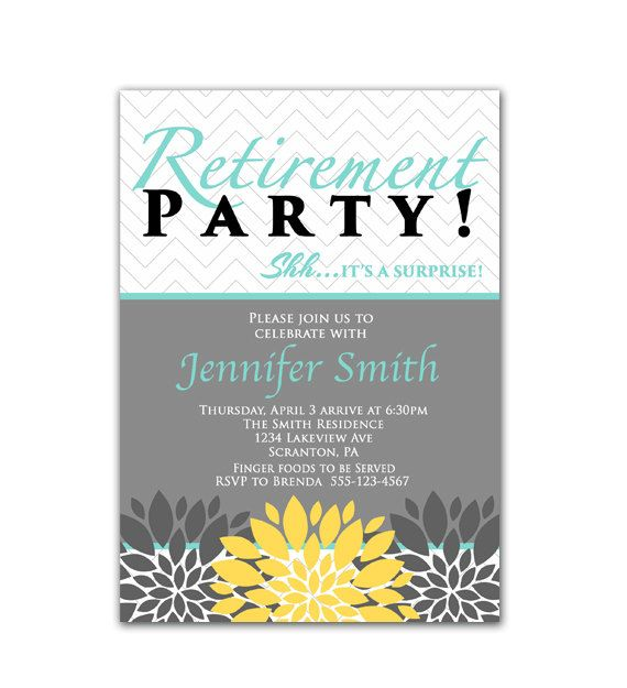 Surprise Retirement Party Invitation Tiffany Blue Yellow and Gray - free party invitation template word