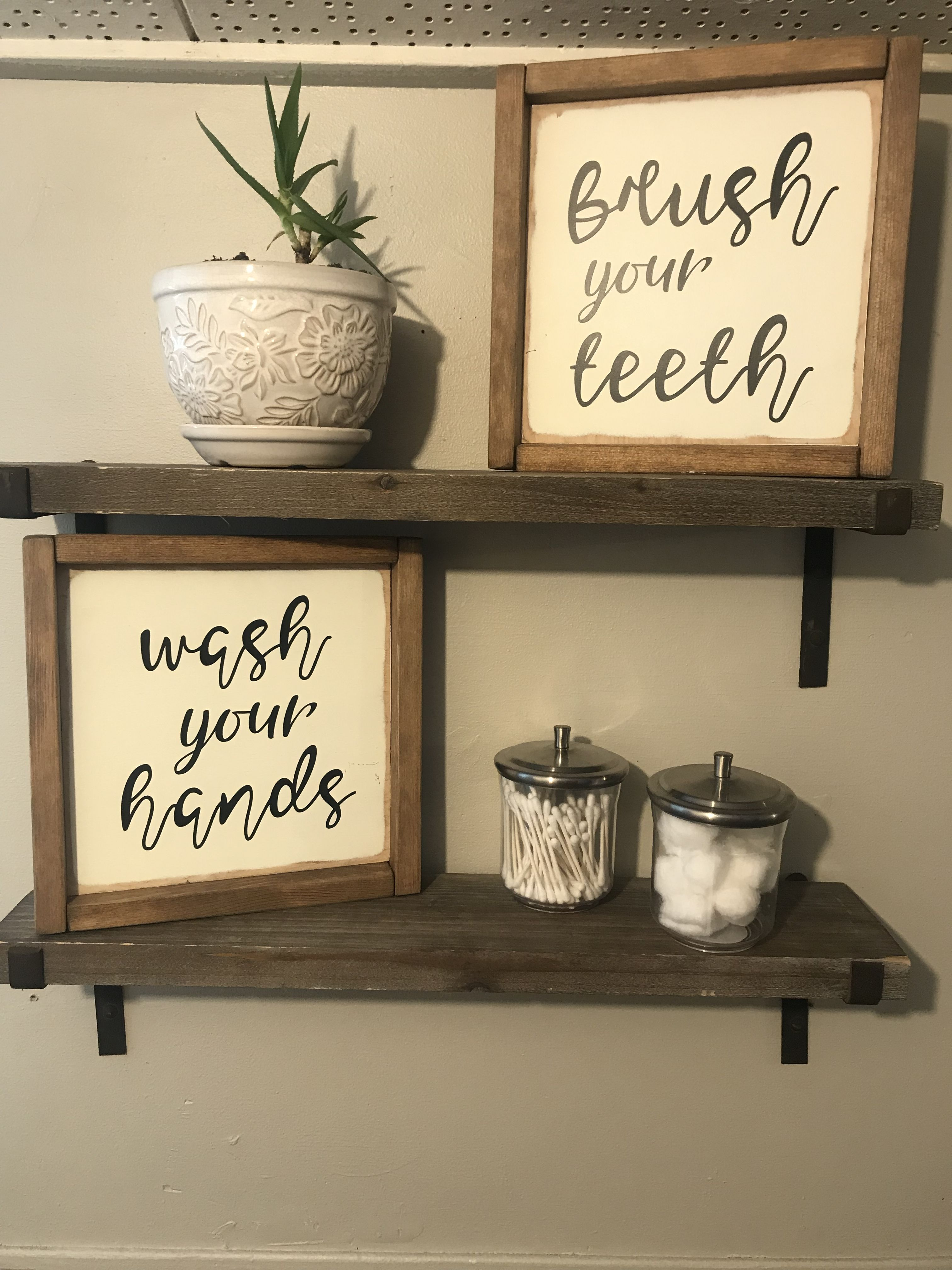 Shelves from Hobby Lobby Homemade signs Jars and planter