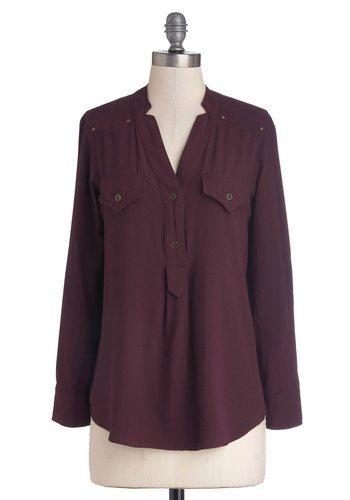 Sipping Chamomile Top - Mid-length, Woven, Purple, Solid, Buttons, Pockets, Safari, Long Sleeve, Better, V Neck, Casual
