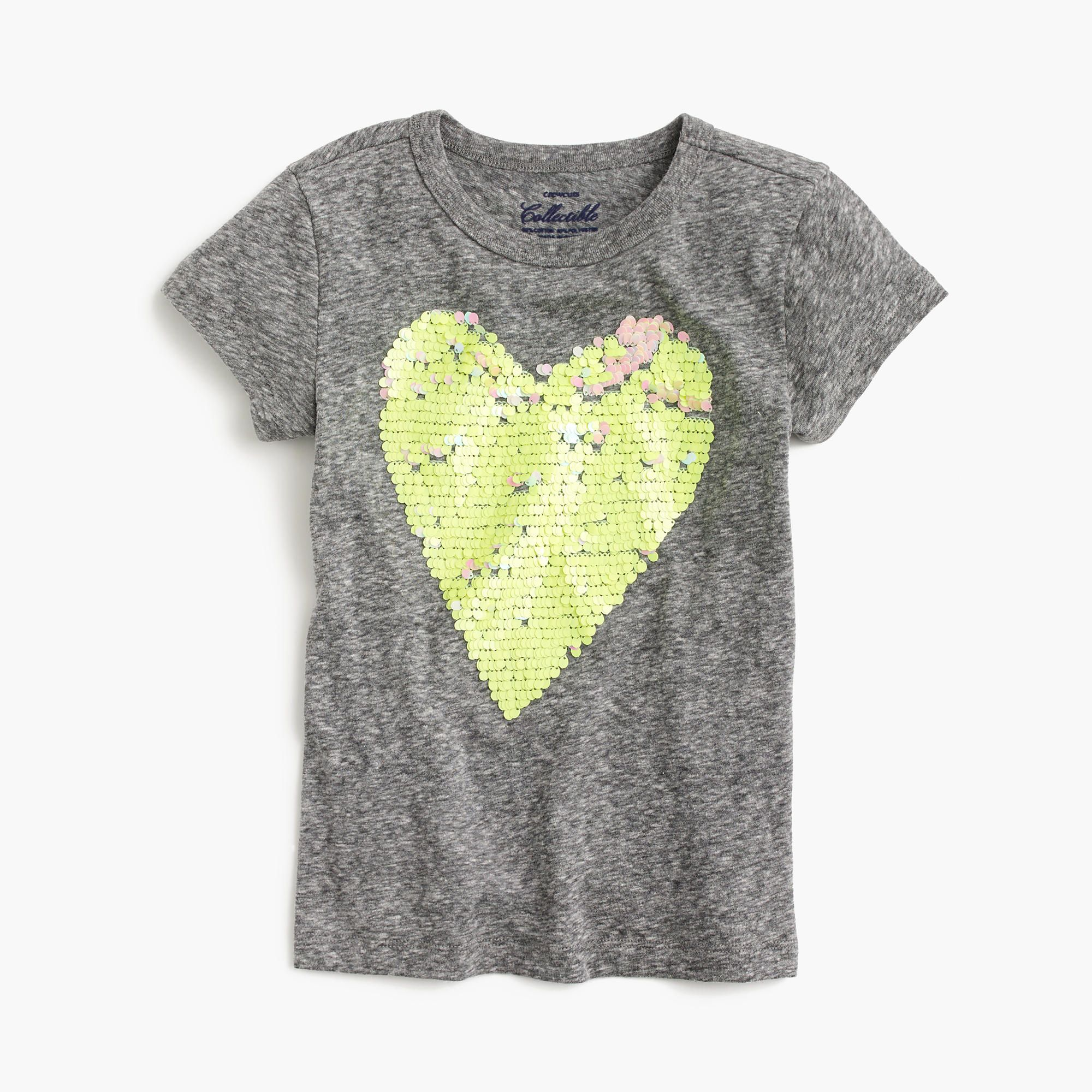 From our top-secret graphics lab to their closet, a soft tee featuring a magical color-changing heart (just brush the sequins up!), courtesy of the creative minds of our crewcuts designers. Cotton. Machine wash. Import. Sizes 2 and 3 feature glitter instead of sequins. Please note: Sequins are double-sided.
