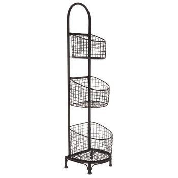 Black Three Tiered Wire Basket Stand With Images Wire Basket Storage Wire Baskets Tiered Basket Stand
