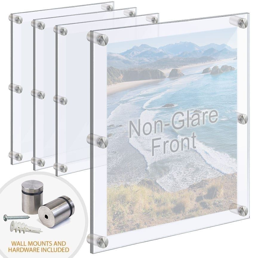 Oversized Acrylic Poster Frames With Standoffs Hardware Bundle Deal In 2020 Poster Frame Floating Acrylic Frame Acrylic Set