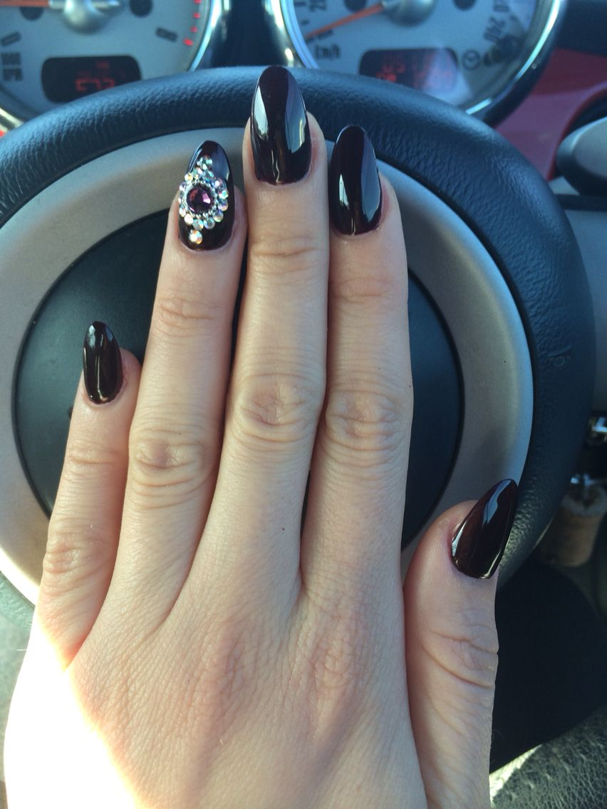 Acrylic nail design, aubergine nails with diamonds, nail design ...