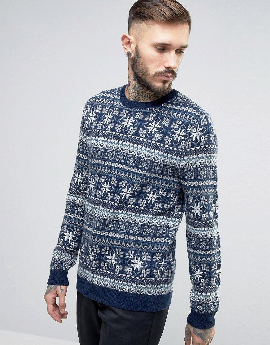 ASOS Lambswool Rich Sweater with All Over Fairisle Navy Products