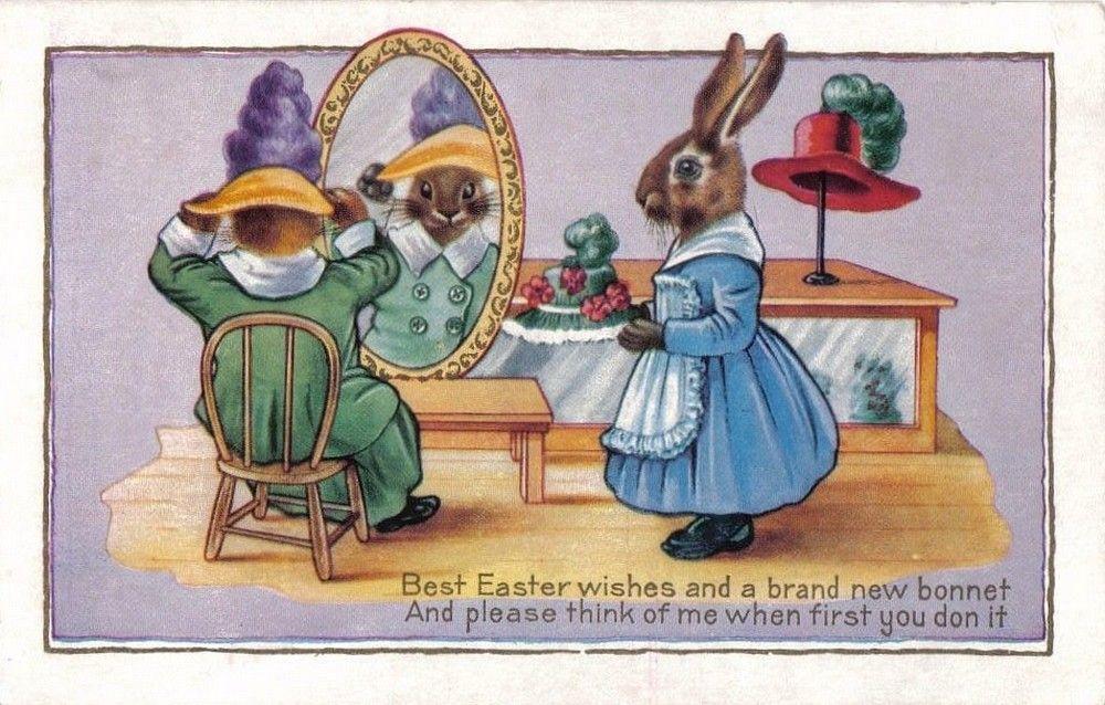 Vintage Post Card Easter Bonnet Bunnies
