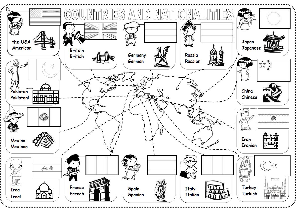 Countries Nationalities Worksheet