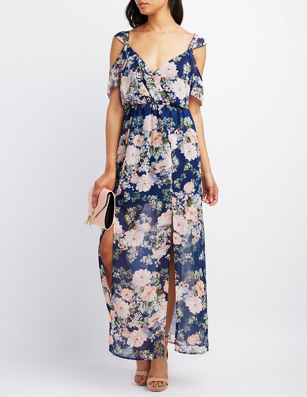 0dec600482 Floral Surplice Cold Shoulder Maxi Dress