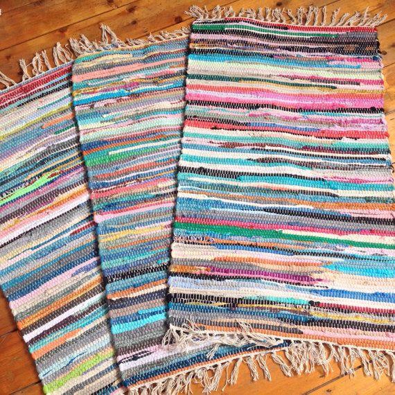 fair trade indian stripey chindi rag rug bath mat blues hippie boho bohemian decor rag rug on boho chic kitchen rugs id=93771