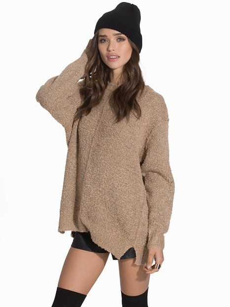 Boucle Knit Seam Front Slouch Jumper