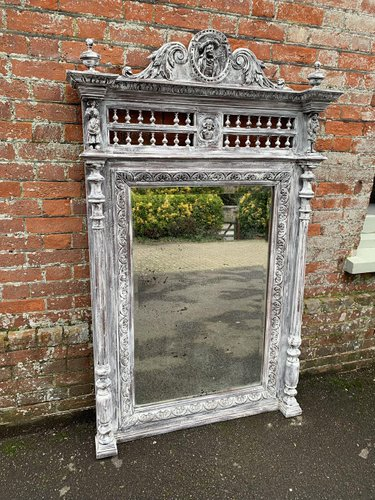 A Fabulous Large Antique French 19th Century Carved Wood Distressed Painted Mirror With Ornately Carved And De In 2020 French Antiques Wood Mirror Distressed Painting