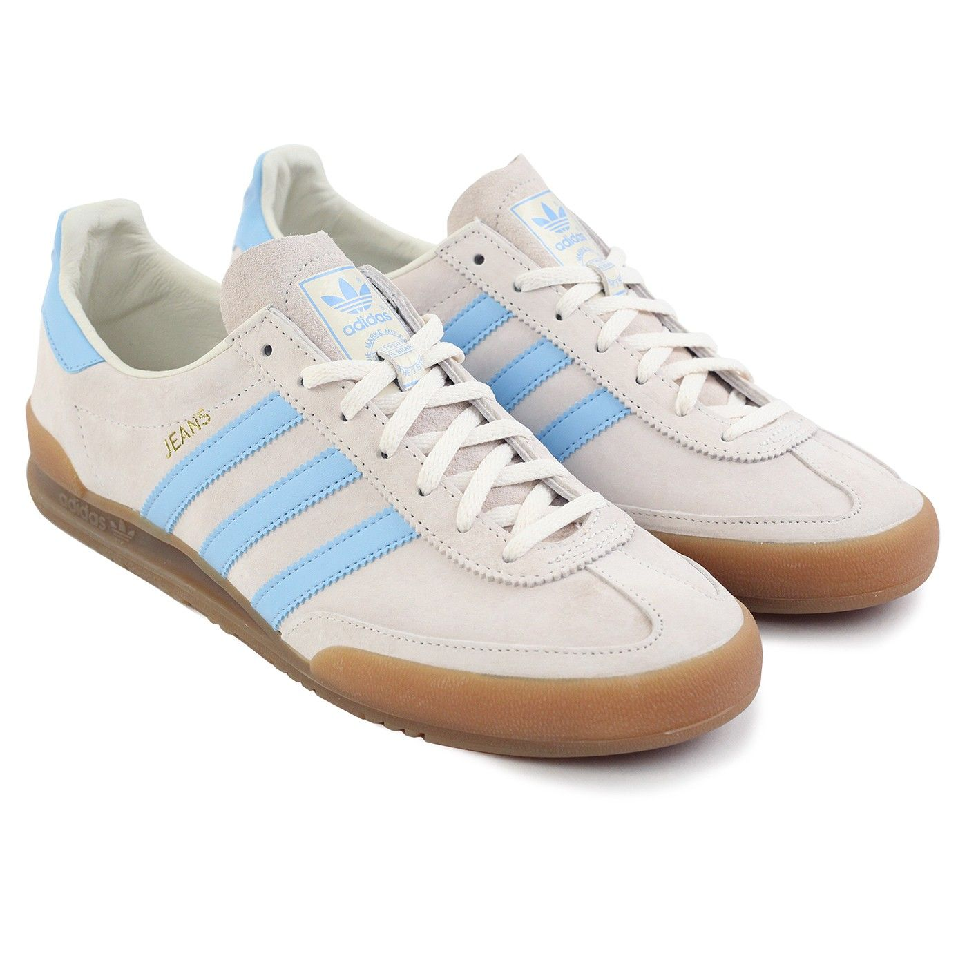 Jeans Shoes in Chalk White Clear Sky Gum by Adidas