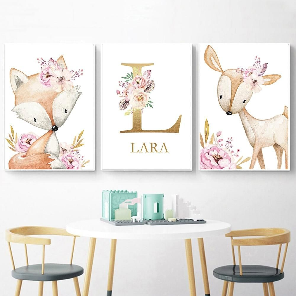 Woodland Animal Print Nursery Canvas Painting Custom Name Wall Art Pink Flowers Poster Nordic Wall Nursery Canvas Nursery Animal Prints Baby Girl Room Decor