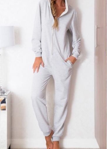Light Grey Long Sleeve Hooded Collar Jumpsuit with cheap wholesale price, buy Light Grey Long Sleeve Hooded Collar Jumpsuit at rotita.com !
