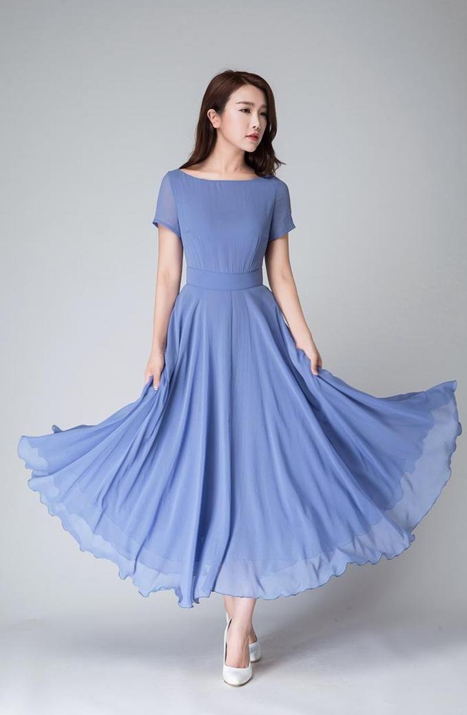 Blue chiffon bridesmaid long dress vintage 50s swing
