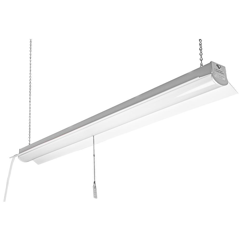 Commercial Electric 4000k 4 Ft 64 Watt Equivalent Integrated Led White Linkable Shop Light 54103161 Shop Light Fixtures Commercial Electric Led Shop Lights