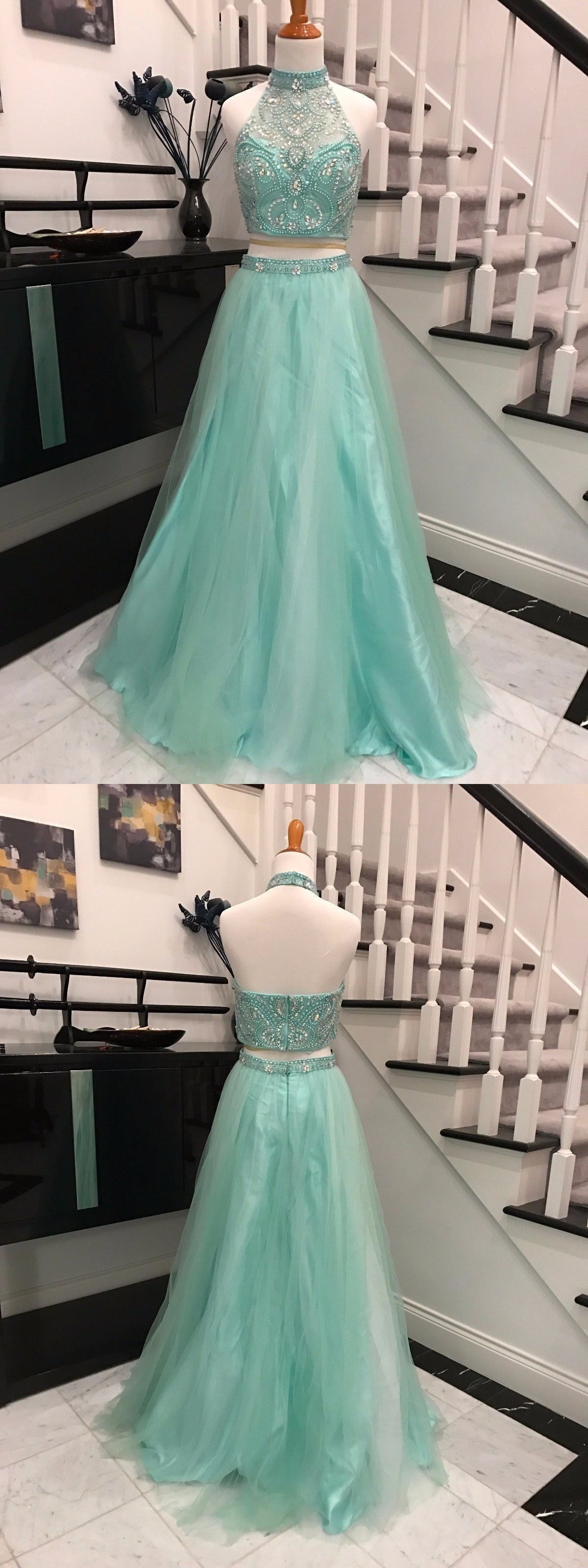 prom dresses,2017 prom dresses,2 pieces prom dresses,mint 2 pieces ...