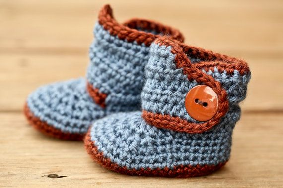 Crochet Baby Booties, Blue Baby Boots, Brown Crib Shoes ...