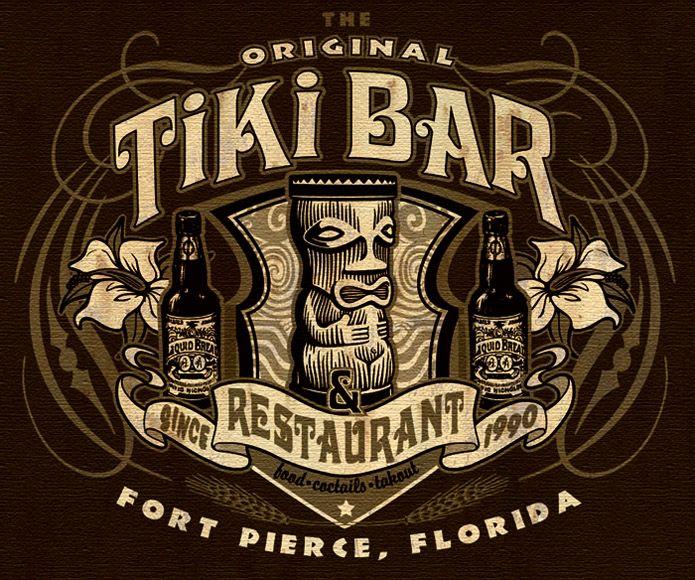 Tiki Bar And Restaurant Tee 2 By Greg Dampier Ilrator Graphic Artist Of Lake Wales Florida