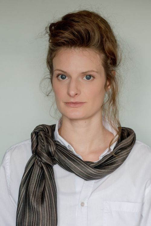 Anna wears Evelyn Waugh Stripe 'Chocolate' (Large)