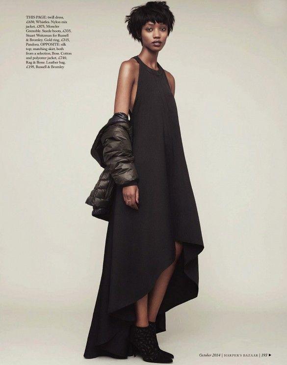 Formal dresses and parkas from Harper's Bazaar UK.