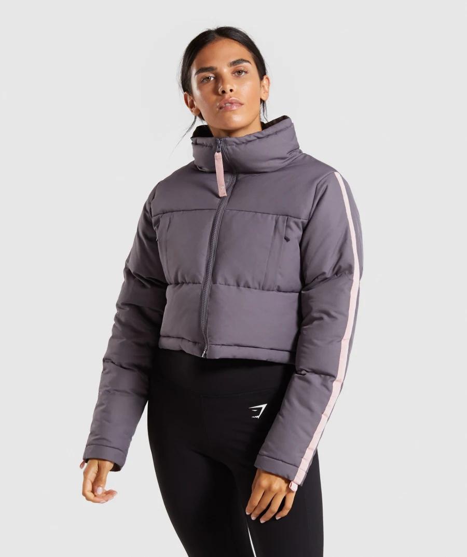 Gymshark Oversized Puffer Jacket Slate Lavender Pink [ 1073 x 900 Pixel ]