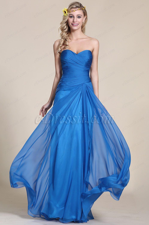 Trägerlos Süßaussschnitt Blau Abendkleid Brautjungfernkleid ...