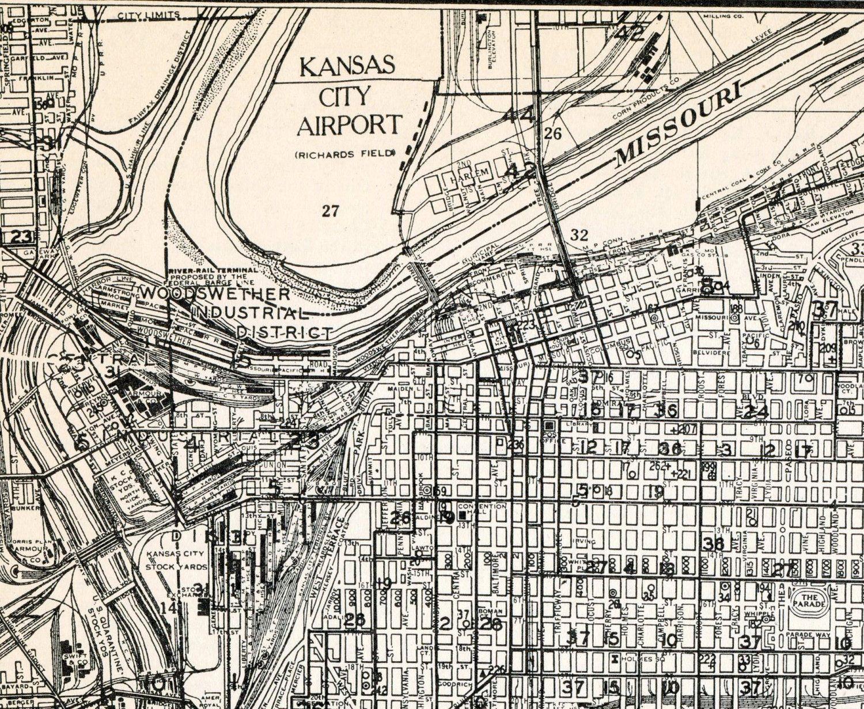 Vintage Map Of Kansas City Missouri Via Etsy - Maps of kansas
