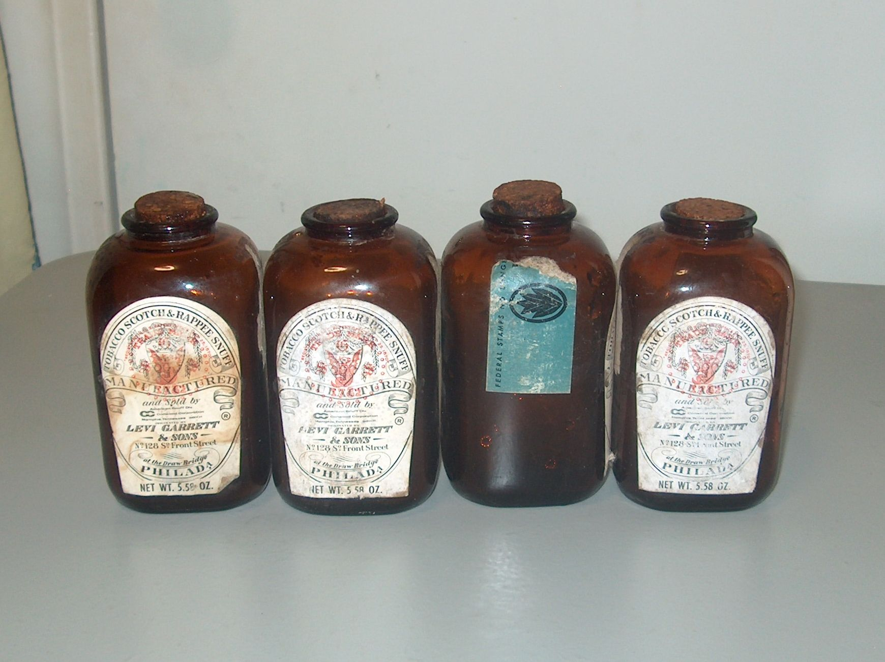 Vintage Levi Garrett & Sons Snuff Bottles with Labels and Corks-1 Has Part of the Government Stamp-$25