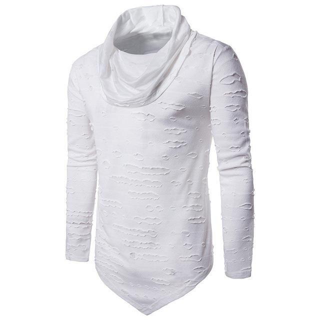 b0246464b10 Men T-shirt Fashion Hip Hop Casual Top Ripped Holes Cut Out Long Asymmetric  Hem Male Long Sleeve Tees Tshirt