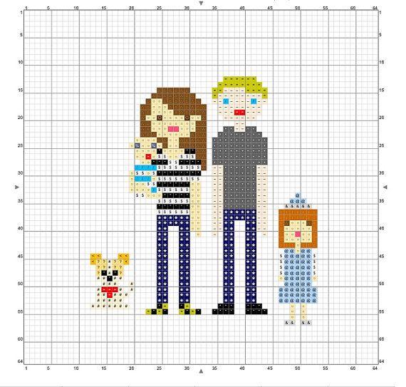 Family Cross Stitch Portrait Pattern Diy Gift By Countryphresh
