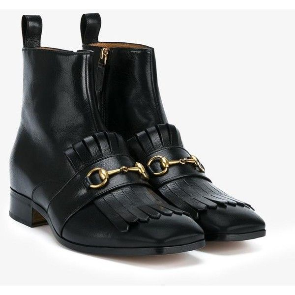 3ec405ac0 Gucci fringed horsebit boots ($855) ❤ liked on Polyvore featuring shoes,  boots, dad shoes, genuine leather boots, leather loafers, beatle boots, ...