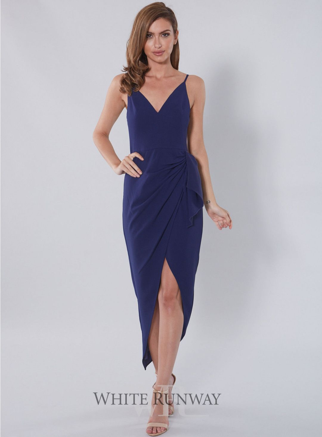 Tahnee Dress. A stunning full length dress by White Velvet. A V-neck style  featuring thin straps and a flattering crossover draped skirt. 9279bc5e1