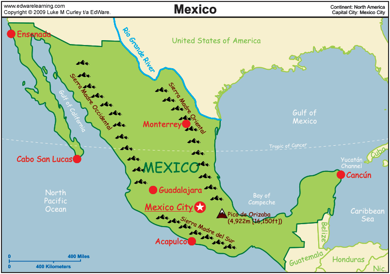 Map of Mexico with important cities. | Mexico | Pinterest | Simple ...