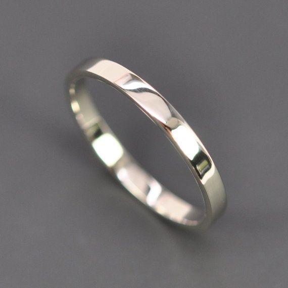 White Gold Wedding Band 2mm By 1mm Flat Edge Ring 14k Palladium