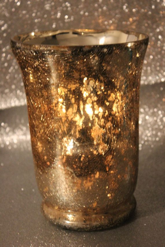Set Of 2 Gold Glass Vases Mercury Glass Style Gold Leaf Crackle