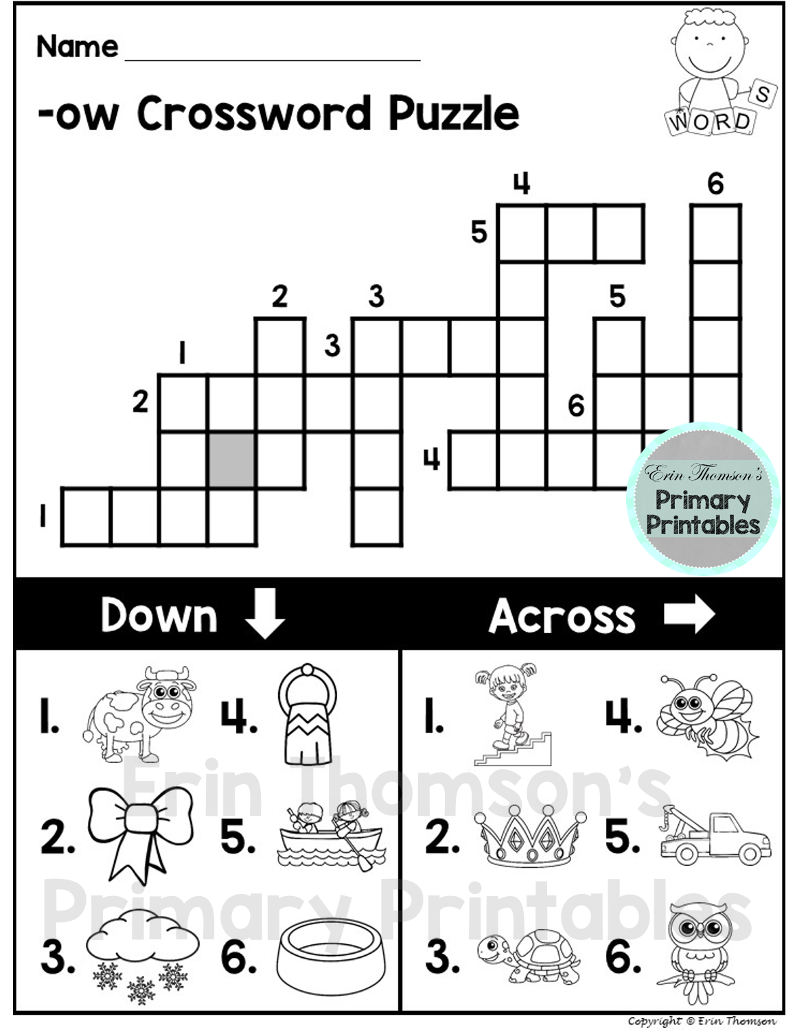 Ow Crossword Puzzle For Word Work Center Small Group Time Seat Work Or For Homework Packet Includes 24 Puzzles Word Work Centers Word Work Phonics [ 1500 x 1158 Pixel ]