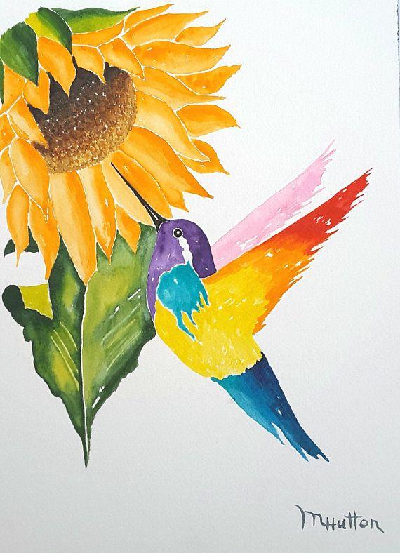Original Watercolor Painting Birds Hummingbird and Sunflower ...