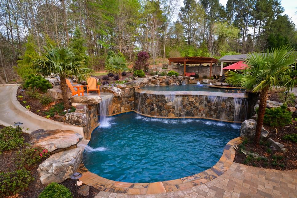 Check Out 17 Great Designs For Borders And Areas Surrounding Your Swim Zone Swimming Pool Landscaping Backyard Pool Landscaping Swimming Pool Designs