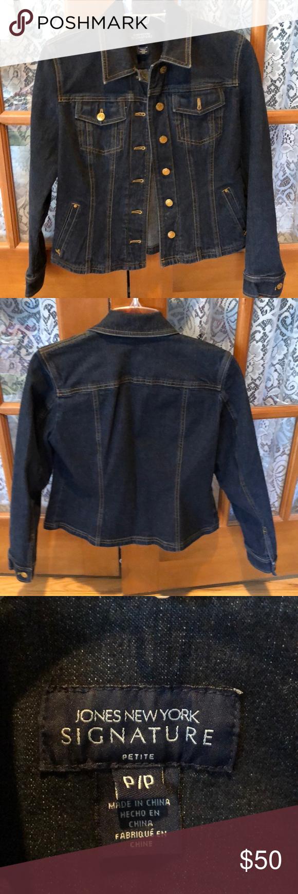 Dark Jean Jacket Dark Denim Jean Jacket With Gold Metal Buttons Jones New York Jackets Coats Jean Jackets Dark Jean Jacket Jean Jacket Dark Jeans [ 1740 x 580 Pixel ]