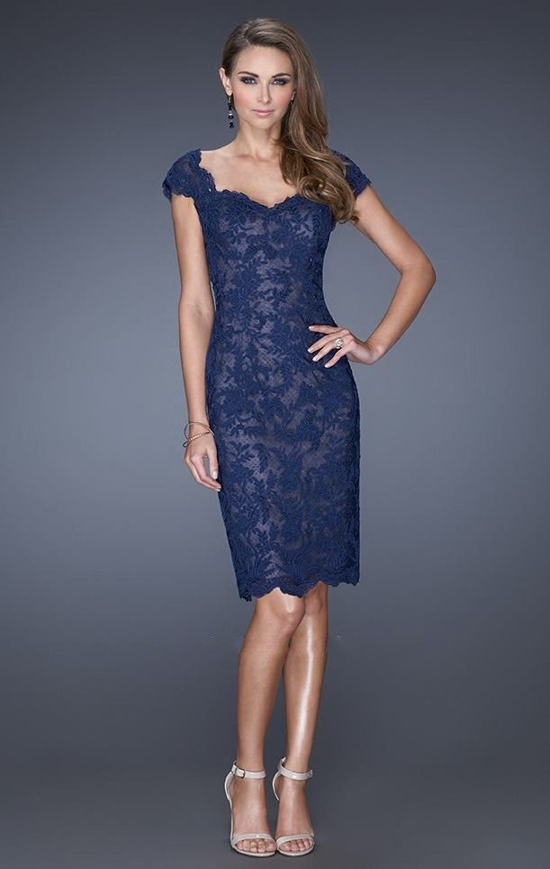 Resultado De Imagen Para Vestido Azul Noche Con Encaje Corto