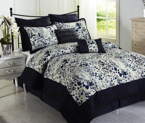 Black white and blue comforter