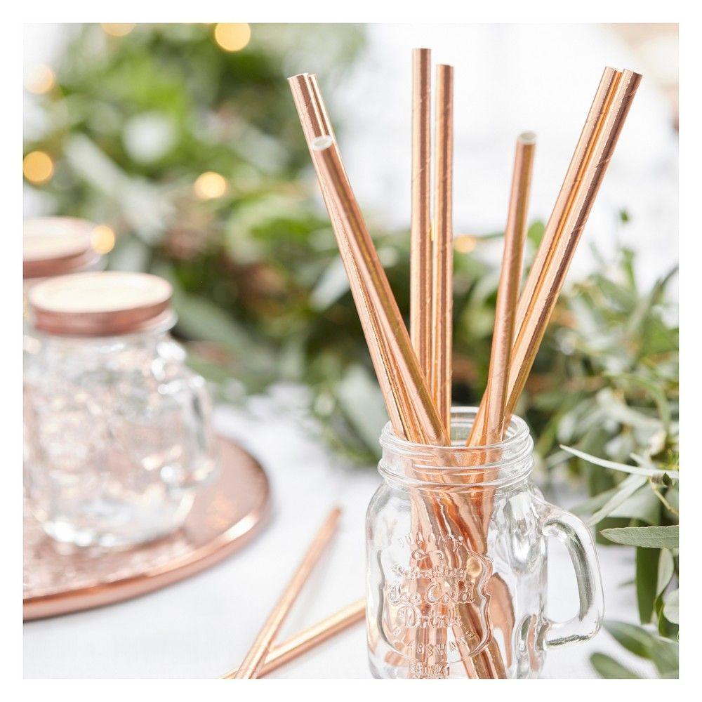 25ct Paper Straws Beautiful Botanics Rose Gold