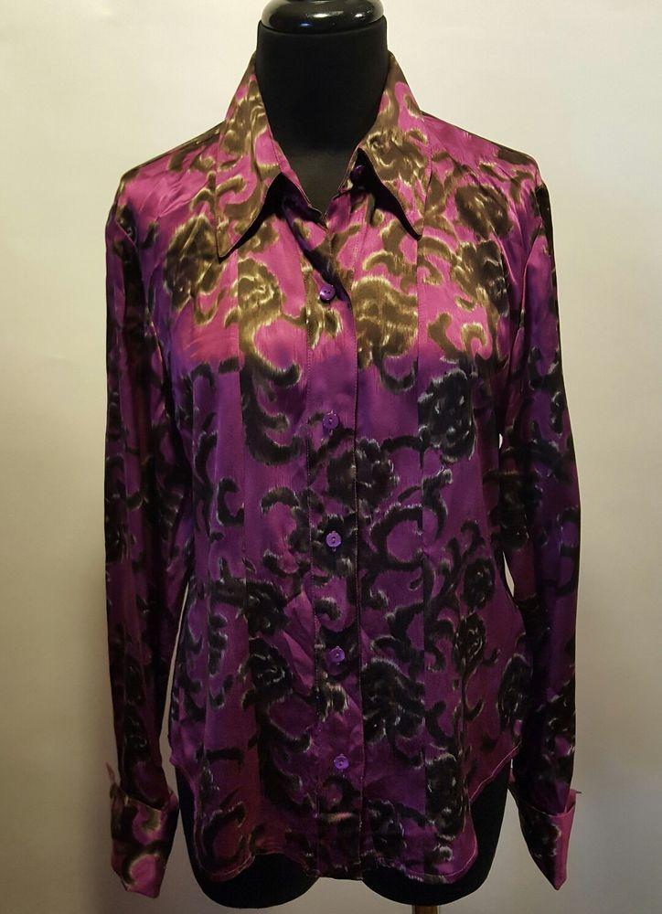 5b129a399afbe1 Linda Allard Ellen Tracy 100% Silk Purple Plum Brown Fleurish Print Blouse  4 Euc  LindaAllardEllenTracy  Blouse  CareerDress  silkblouse  19.99