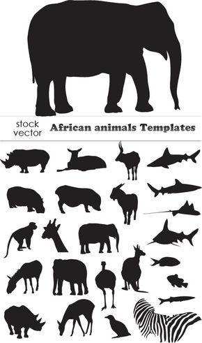 Vectors African Animals Templates Animal Silhouettes Silhouette Animals Animal Vector