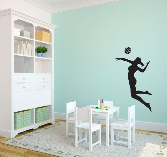 Volleyball Player Spiking Silhouette Sports Wall Decal Custom - Vinyl volleyball wall decals