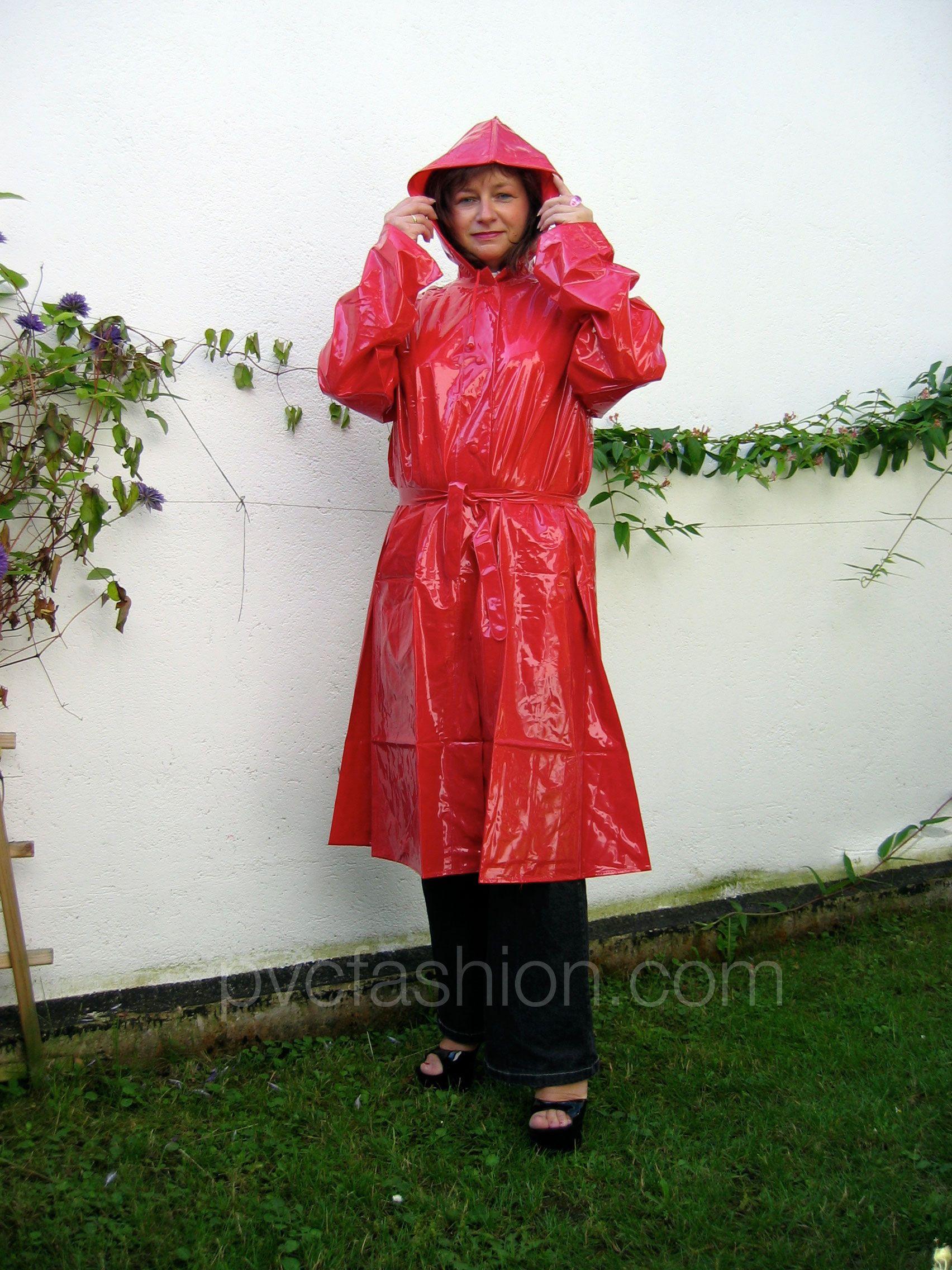 shiny red hooded pvc raincoat | PVC Raincoats ...