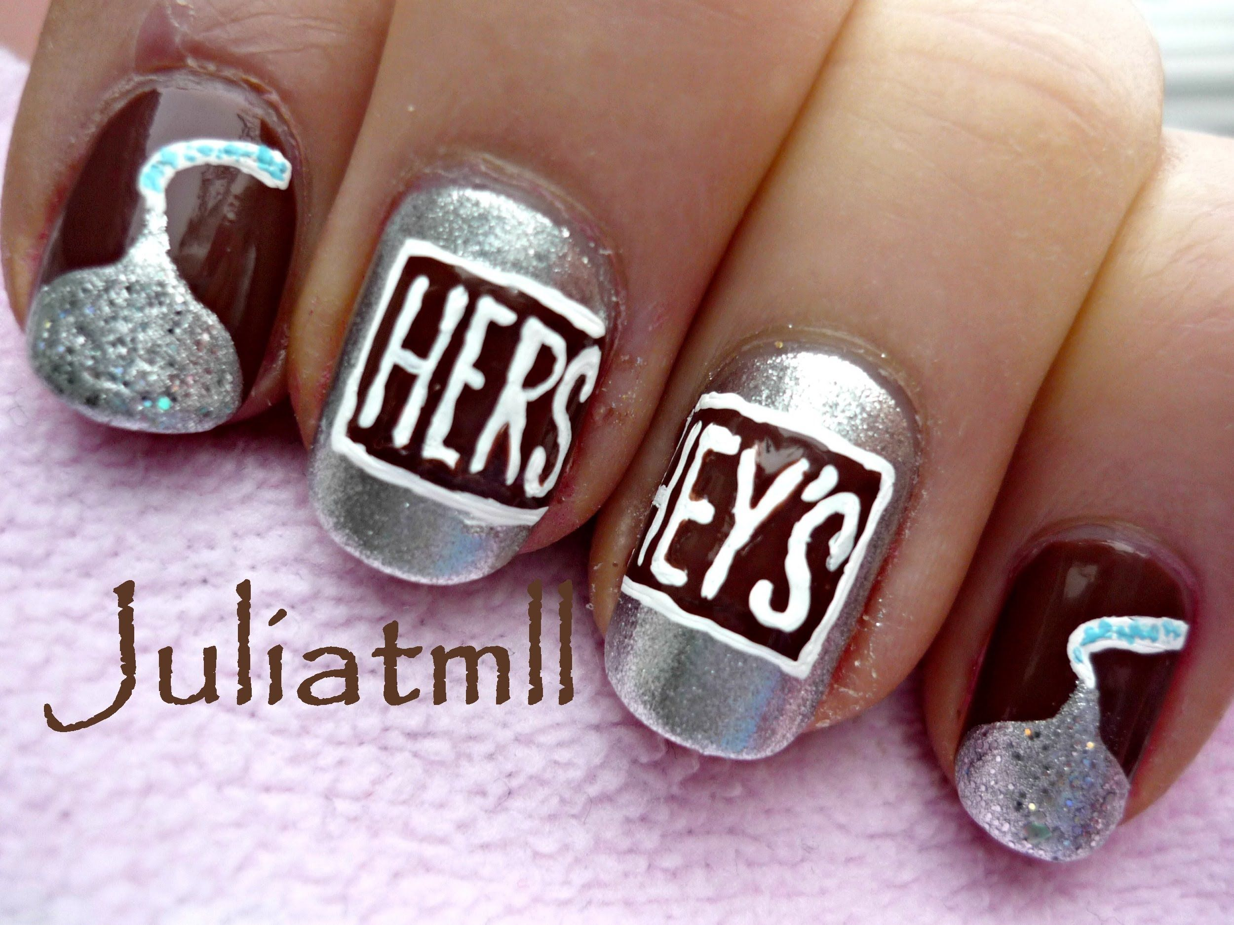 Chocolate Hershey\'s Kisses Nail Art | OC Nails by Lisa Benedetti ...