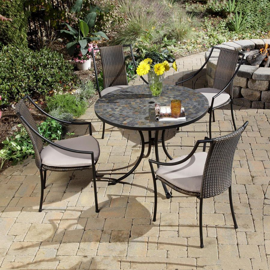 Shop Home Styles 5 Piece Stone Harbor Steel Patio Dining Set At