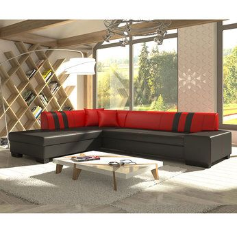 Meuble De Salon Canape Canape Angle Rouge Et Noir Sofamobili Meuble Salon Mobilier De Salon Canape Angle